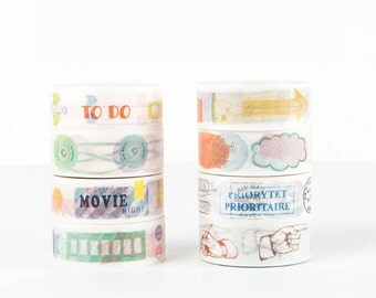 Stamp/Gesture/Memo/Sticker/Folder/Lable/To Do List/Tag Diary Japanese Washi Tape Deco Tape - 15mm X 7 metres