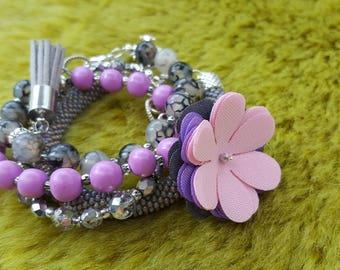 Bracelets, handmade, natural dragon agate beads, czech seed beads ,beads crocheting,  polymer modeling