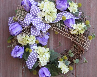 Summer Wreath, Spring Wreath, Grapevine Wreath, Hydrangea Wreath, Purple Tulip Wreath, Rustic Wreath, Front Door Wreath, Housewarming