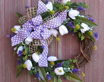 Summer Wreath, Spring Wreath, Tulip Wreath, Lavender and white Wreath, Grapevine Wreath, Rustic Wreath, Front Door Wreath, Housewarming