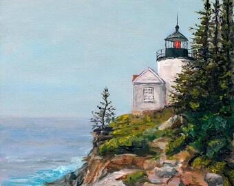 Bass Harbor Light House, Signed, Fine Art Print, Home Decor