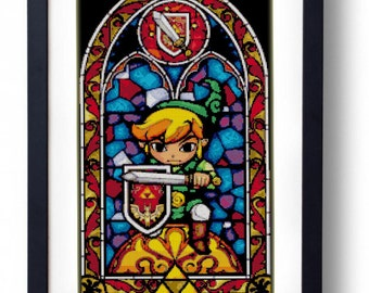 The Legend of Zelda - Link Stained Glass Sword The Wind Waker (Cross stitch embroidery pattern pdf)