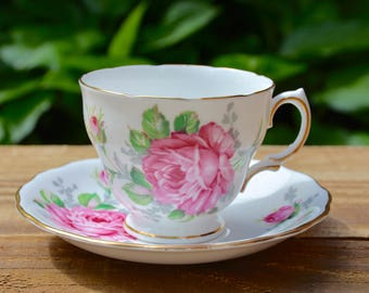 Vintage Tea Cup Set by Royal Vale, Tea Cup and Saucer Set, English Bone China, Bridal Tea, Bridal Tea Party, Made in England, Pink Roses