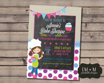 Bake Shoppe Party Invitation, Bake Shop Birthday Party, Girl Birthday Party Invitation, Baking Printable Invitation, Cupcake Decorating
