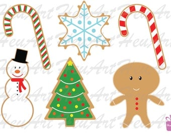 NEW Cute Christmas Cookies Clipart - Christmas Cookie Printables, Christmas Cookie DIY, Christmas Cookie Stickers, Christmas Digital Clipart