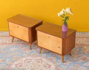 2 x 50's night table, chest of drawers, 60s, vintage (501006)