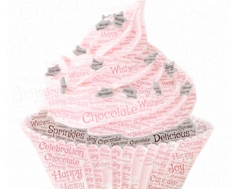 """HAPPY BIRTHDAY CUPCAKE!! Adorable Pink Cupcake Created with Celebratory Word Cloud on 22"""" Silver Necklace!"""
