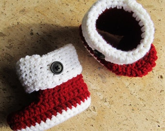 Crochet baby booties/ red baby booties/ Christmas baby shoes/ red crochet shoes with buttons/ santa baby booties/ white crochet booties
