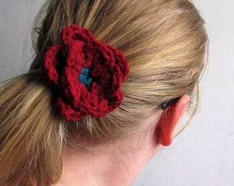 Crochet flower hair elastic/ hair accessories/ double layered flower hair tie, all seasons/ choose your colors