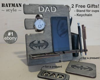 Personalized men gift, Personalized docking station, Personalized gift, Batman gift idea, iPhone charging stand, Mens charging dock, Batman
