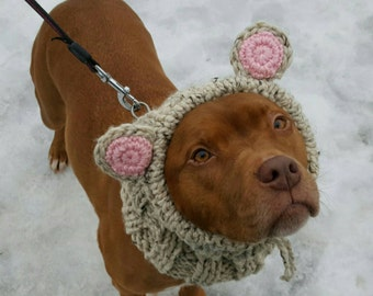 Dog Snood, Dog Costume, Dog Halloween Costume, Dog Cowl, Bear Snood,  Large Dog, Teddy Bear Costume, Bear Ears, Big Dog, Greyhound Snood,