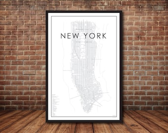 Map of Manhattan, New York City Map, New York Print, Map Poster, NYC Map, New York Map, Manhattan Map, Street Map, Map of NYC