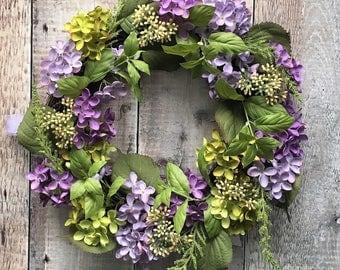 Floral Wreath - Hydrangea Wreath - Purple Flowers