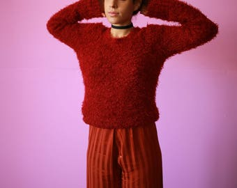 2000s Red Fuzzy Shirt L