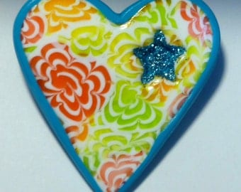 Heart and Star Brooch
