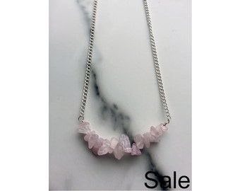 SALE: Dainty rose quartz crystal necklace