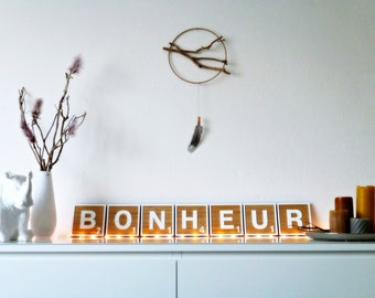 HAPPINESS - to hang giant Scrabble tiles