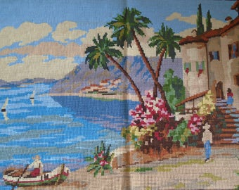 beach Completed old Embroidery without frame handmade hanging wall decor