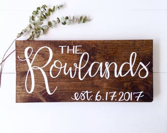 Family Name Sign Wood, Last Name Sign Family, Wedding Prop, Wedding Sign, Last Name Wood Sign, Last Name Established Sign, Last Name Gift