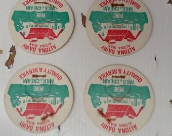 Vintage milk cream bottle top paper Altona Dairy Manitoba labels ephemera mixed media dairy