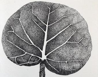 Pointillism Sea Grape Leaf