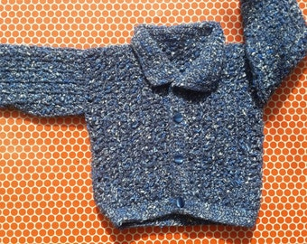 Vintage Baby Sweater, Baby Sweater, Blue Baby Sweater, 6 Month, Little Sweater, Buttoned Sweater, Vintage Sweater for Babies, Wool Sweater