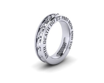 Mens Skull Wedding Band sterling silver with Custom Engraving