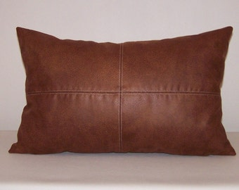 Brown Faux Leather Accent Lumbar Pillow Cover with Topstitching 13x20