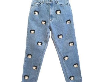 Hand painted custom Betty Boop Vintage Denim Jeans