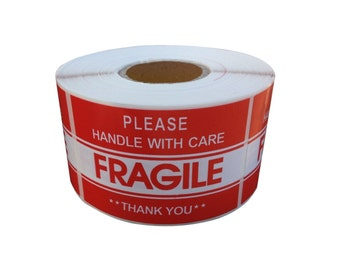 """1 Roll Fragile Handle With Care Shipping Sticker, 2""""x3"""", 500 Per Roll"""