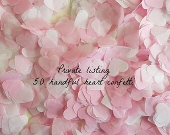 Private listing Pink & White heart confetti 50 handful Lovely color cheaper price :)