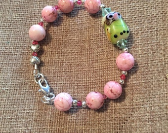 Lampwork owl and turquoise bracelet