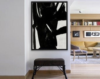 Hand Painted Extra Large Abstract Painting, Vertical  oil Painting Large Wall Art. Black White Painting Original Art