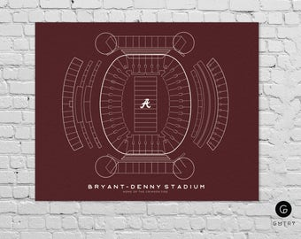 "Bryant–Denny Stadium Print - 8"" x 10"" - Fan Art - Alabama Crimson Tide 