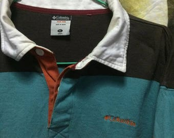 Sale Vintage Columbia Color Block Long Sleeve Polo