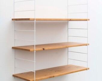 Shelf low/wall/hanging rack/ladder shelf with 3 natural wood floors/manual Work
