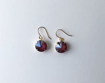 Handmade Earrings - Made with Swarovski Crystal (Dark Red)