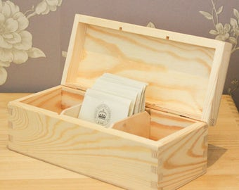 Wooden compartment boxes, Tea box, untreated plain pine wood,  removable sections,  hinged lid, various sizes