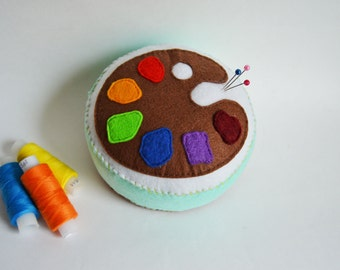 felt pincushion hand embroidered wool felt embroidery sewing artist paint