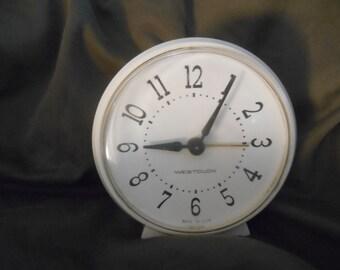 White Molded Westclox Alarm Clock