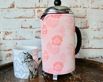 Vintage Fabric Cafetiere Cosy. Cimplene. French Press Cosy. Coffee Pot Warmer. Retro Coffee Cosy. 1960s Flower Print. Pink Coffee Cozy.