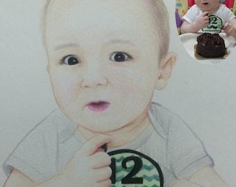 Custom portrait, personalized portrait, child portrait, kids portrait, baby portrait, pencil drawing, Custom Portrait Kids Portrait