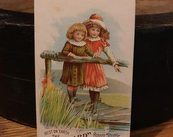 Antique Tradecard - Victorian Tradecard - Antique Advertising - Victorian Ephemera -  Vintage Sewing Machine