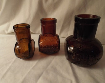 Bovril Limited Antique brown glass bottle-Jar Meat Extract Pots (3)