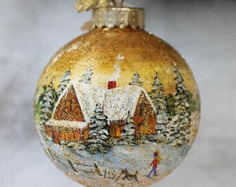 Christmas Ornament - Hand Painted Ornament - Ornament - Christmas Ornament Handmade - Teachers Gift - Winter Scene Ornament - Hand Painted