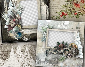 Digital Scrapbook, Quick Page, Vintage Christmas, Shabby  Heritage, Premade Scrapbook Layout, Old Fashioned Christmas, Premade, 12x12,