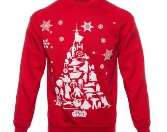 New Star Wars Jedi Christmas Funny  Xmas Sweater // Red Sizes Small-XXL