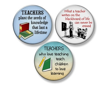 "TEACHER Fridge Magnet Set - 3 Large 2.25"" Round Magnets (Set #2)"