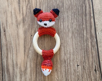 Crochet Pattern Teething Rattle Ring - Reinaard the Fox