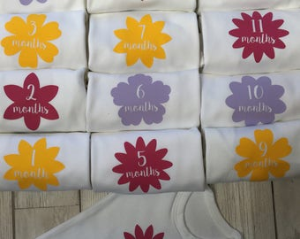 Flowers Monthly Milestone Baby Vests
